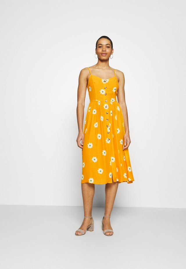 BUTTON DRESS - Korte jurk - yellow spaced