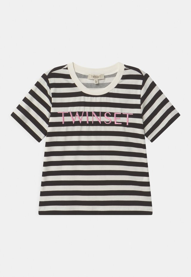 Print T-shirt - riga off white/nero/rose bloom