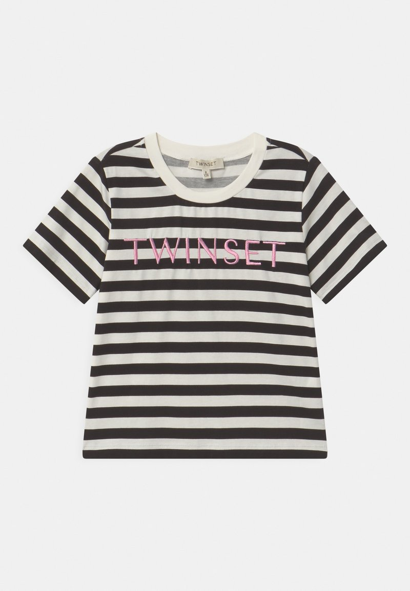 TWINSET - Print T-shirt - riga off white/nero/rose bloom