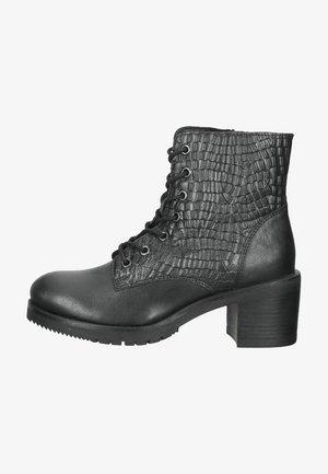 Højhælede støvletter - black leather