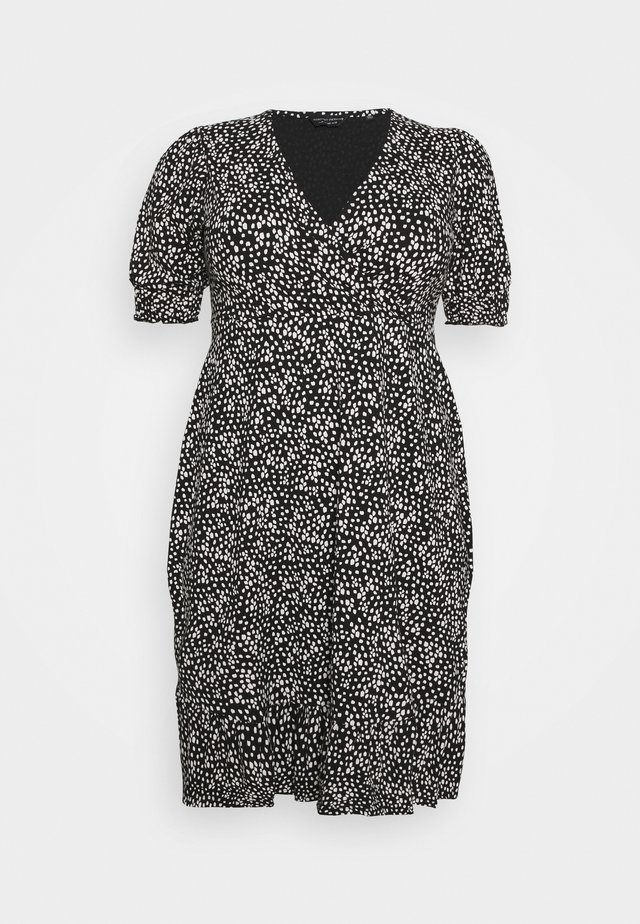 MONO SPOT WRAP DRESS - Day dress - black