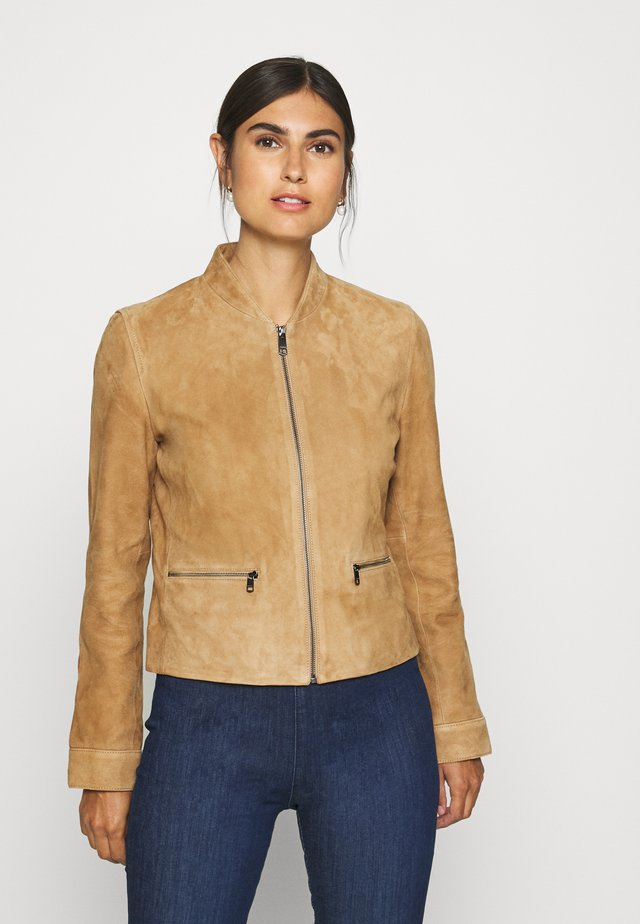 NADIA SLIM VARSITY - Leather jacket - sandy