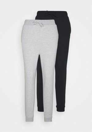 2er PACK - Slim fit joggers - Joggebukse - mottled light grey/black