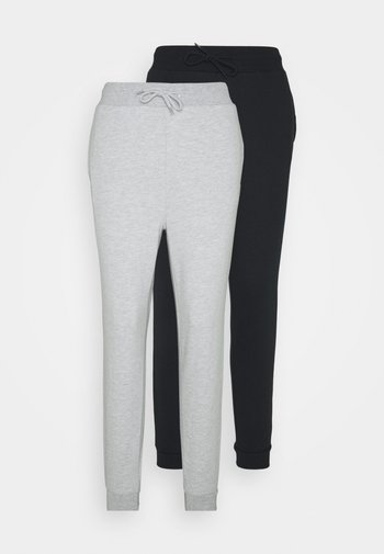 2er PACK - Slim fit joggers - Pantaloni sportivi - mottled light grey/black