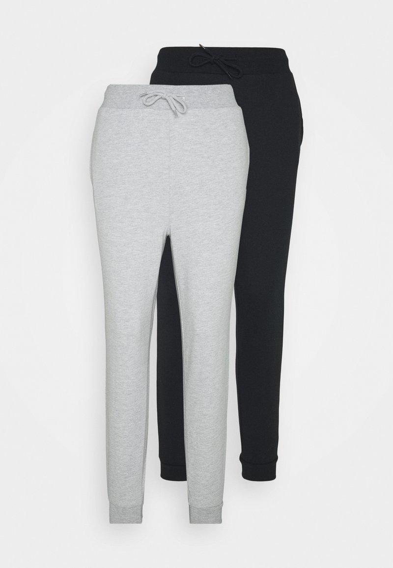 Even&Odd - 2er PACK - Slim fit joggers - Tracksuit bottoms - mottled light grey/black