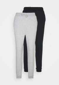 Even&Odd - 2 PACK SLIM FIT SWEATPANTS - Pantalones deportivos - mottled light grey/black - 4