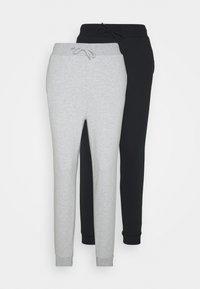 2 PACK SLIM FIT SWEATPANTS - Pantalon de survêtement - mottled light grey/black