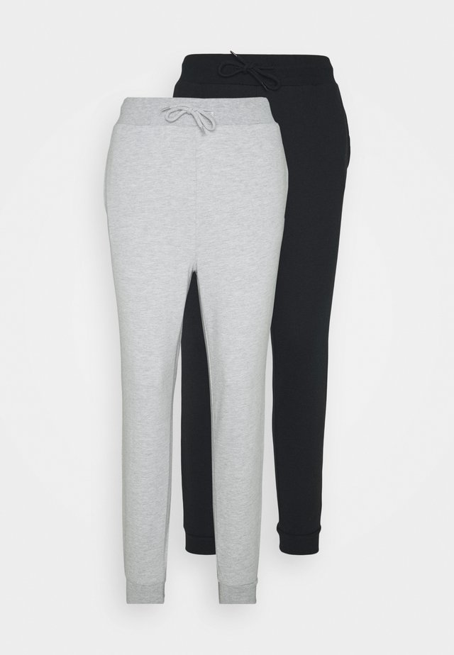 2 PACK SLIM FIT SWEATPANTS - Pantalones deportivos - mottled light grey/black