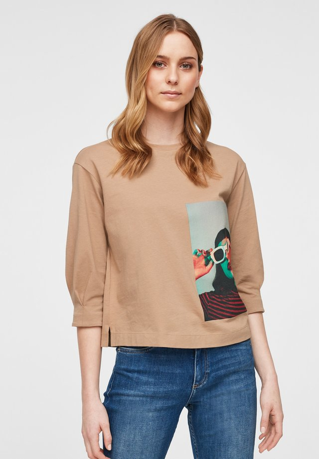 MIT FOTOPRINT - Long sleeved top - caramel placed print