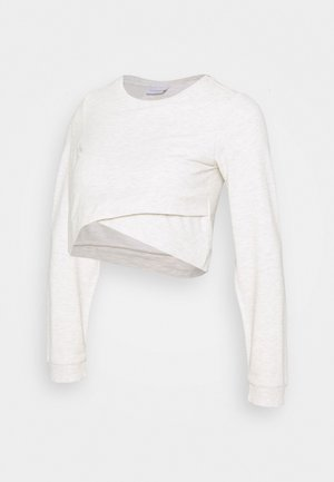 MLCARLY  CROPPED TOP  - Sweatshirt - light grey melange/ultra light grey