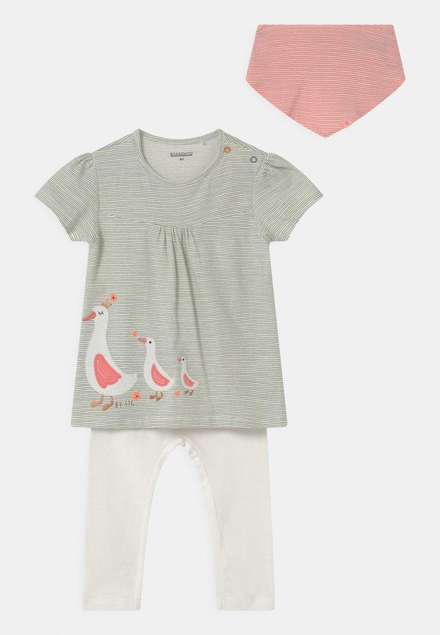 SET - T-shirt print - khaki/off-white