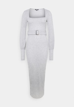 SQUARE NECK BELT DRESS - Žerzejové šaty - grey