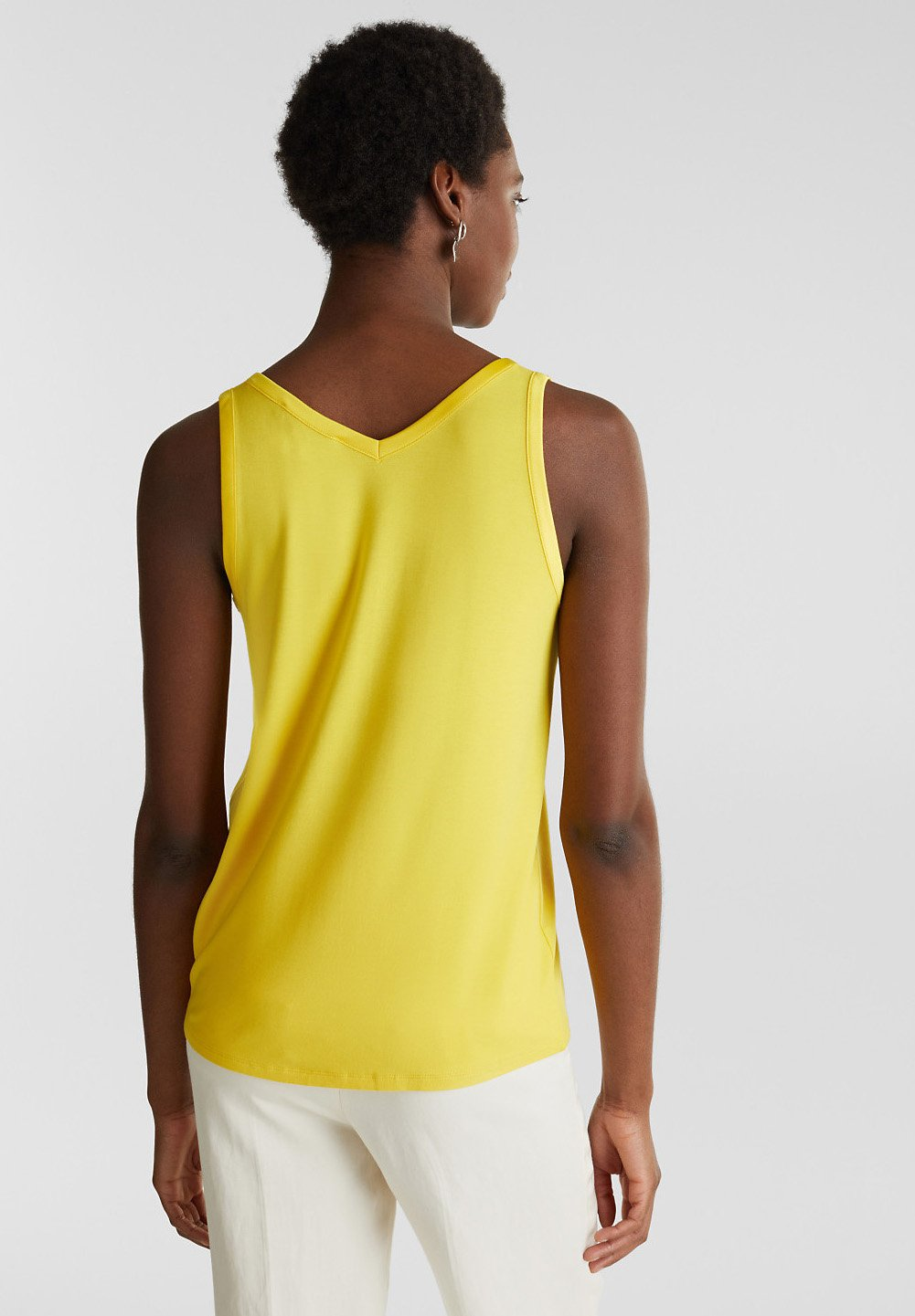 Esprit Collection MIT SATIN-DETAILS - Débardeur - yellow - Tops & T-shirts Femme fX1yD