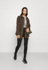 BDG Urban Outfitters - BRUSHED CHECKED SHACKET - Button-down blouse - orange - 1