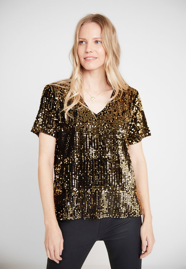 KACOLENE  - Print T-shirt - black deep/gold