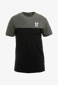 11 DEGREES - PANEL BLOCK - T-shirt print - black/anthracite marl/white - 4