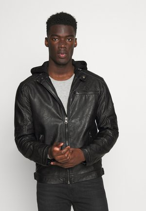 BERRY - Faux leather jacket - black
