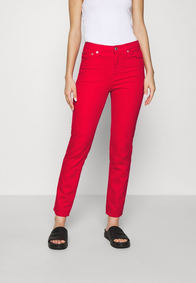 TROUSERS - Straight leg -farkut - red