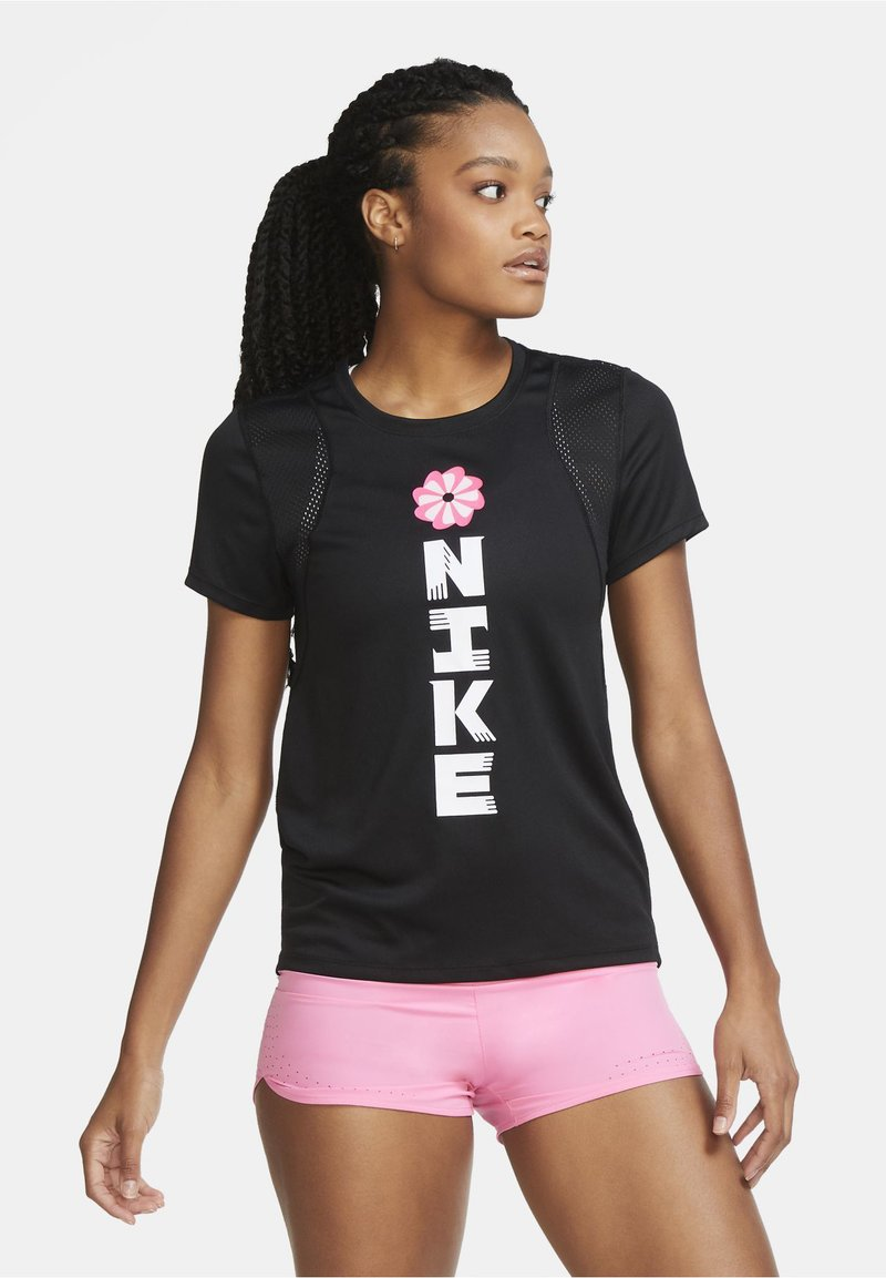 Nike Performance - Print T-shirt - black/black/white