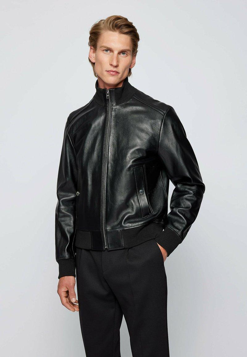 BOSS - NAFAN - Leather jacket - black