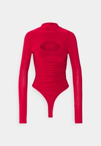 Missguided Tall - HIGH NECK CUT OUT RUCHED WAIST - Long sleeved top - red - 0