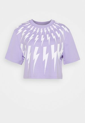 FAIR ISLE THUNDERBOLT CROP - T-shirt imprimé - lilac/white