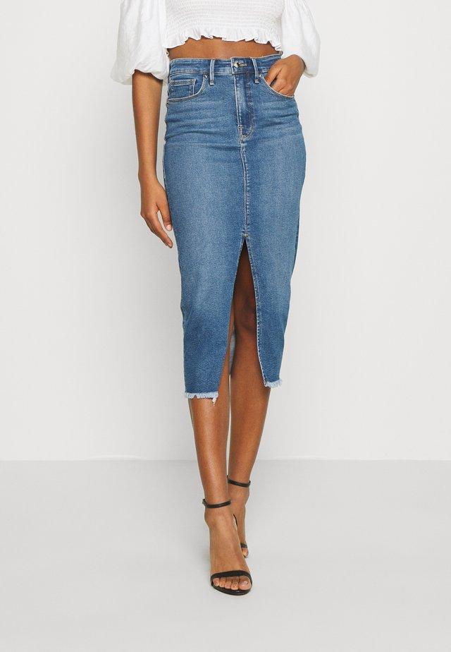 LONGER PENCIL  - Denim skirt - blue