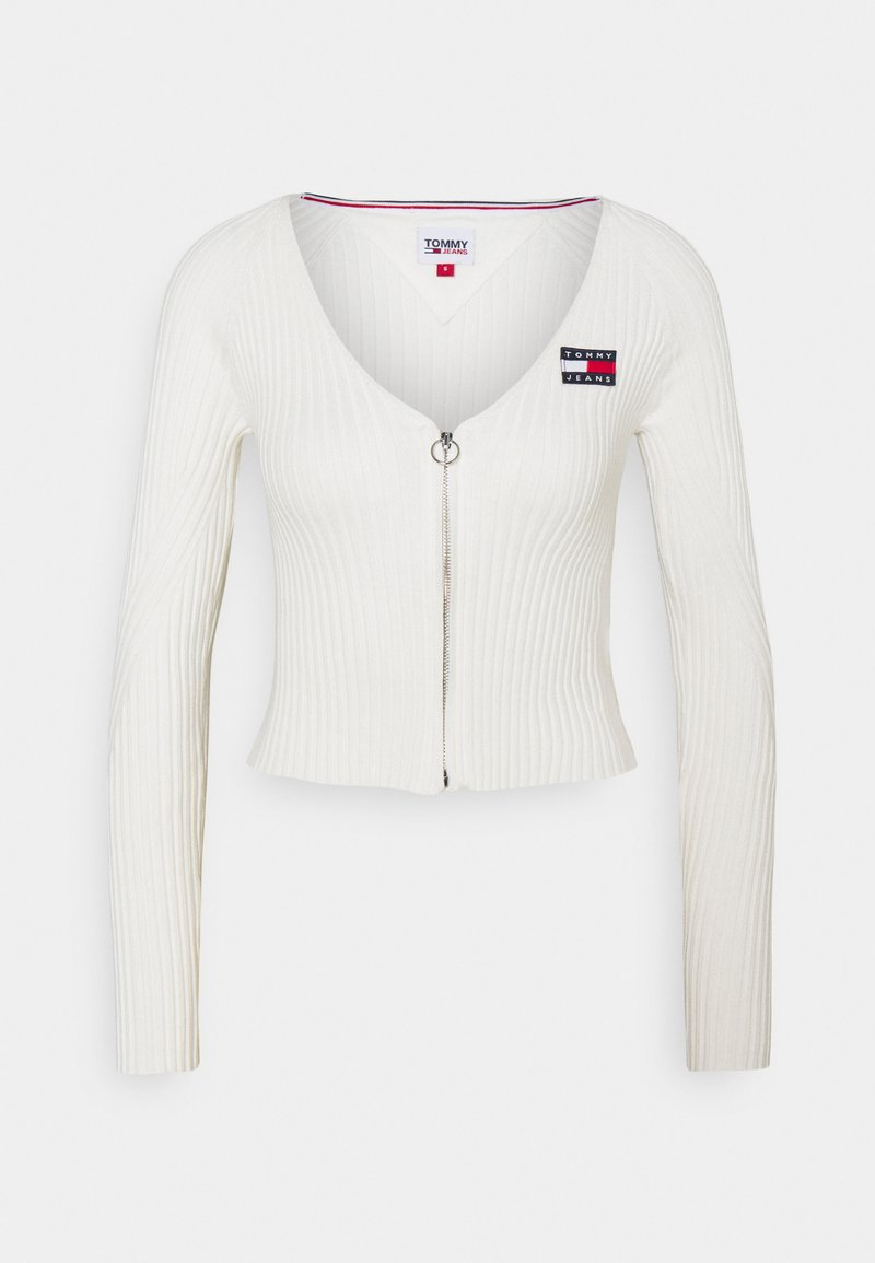 Tommy Jeans - FLAG BADGE CARDIGAN - Cardigan - snow white