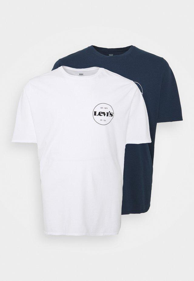 TEE 2 PACK - T-shirts print - white/dress blues
