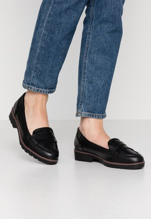 WIDE FIT RUBBLE LOAFER - Półbuty wsuwane - black