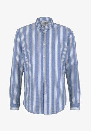 Shirt - olive blue big stripe