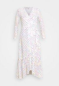 Never Fully Dressed - RAINBOW SPOT WRAP DRESS - Vestido informal - white - 4