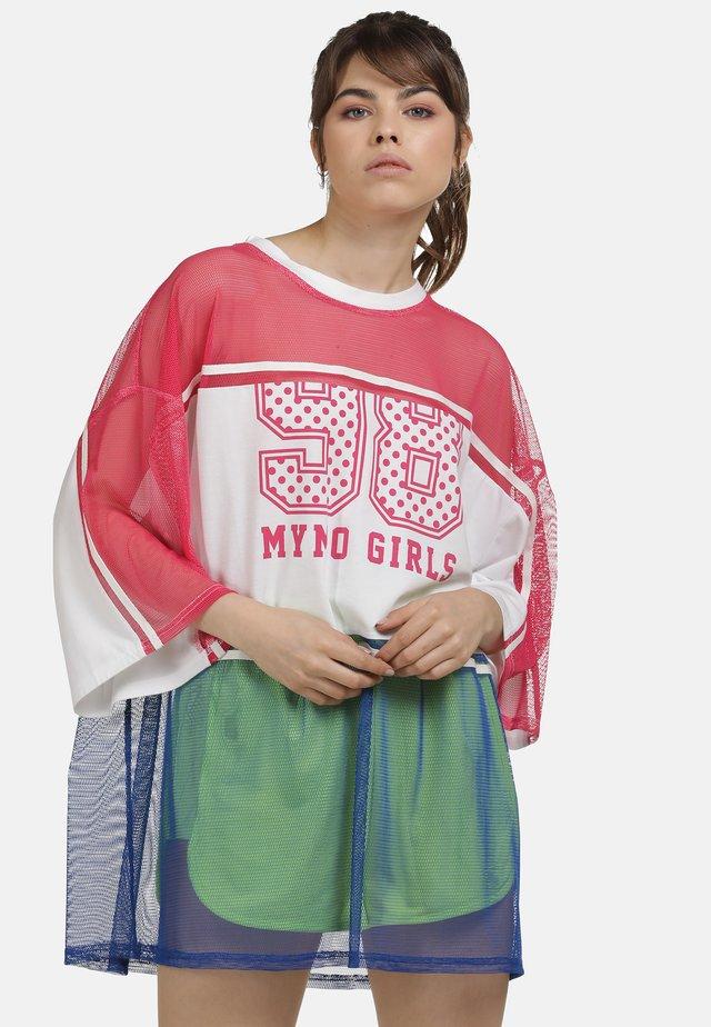 Long sleeved top - neon pink weiss blau