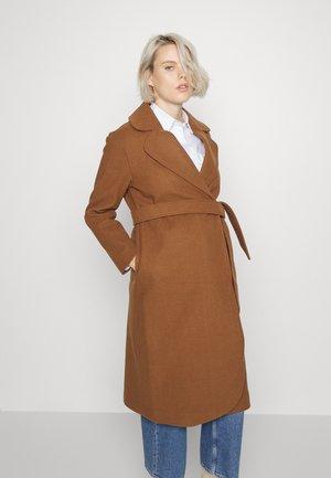 LAPEL COLLAR MIDI COAT WITH TIE BELT - Classic coat - brown