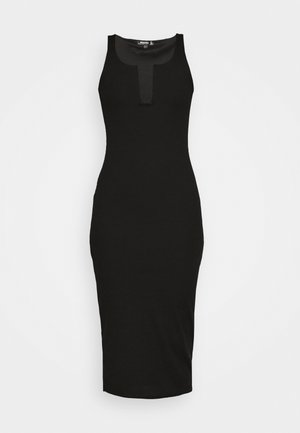 U BAR SQUARE NECK MIDAXI DRESS - Shift dress - black