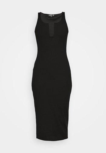 U BAR SQUARE NECK MIDAXI DRESS - Etuikjole - black