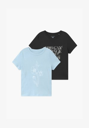 GIRLS CLASSIC 2 PACK - T-shirt print - light blue/dark grey