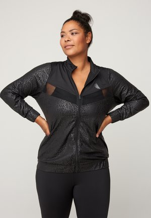 WITH PATTERN MADE UP OF SIMILAR COLORS - Veste de survêtement - black