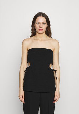 PRESSED FLOWERS DRAW SIDE STRAPLESS - Top - black