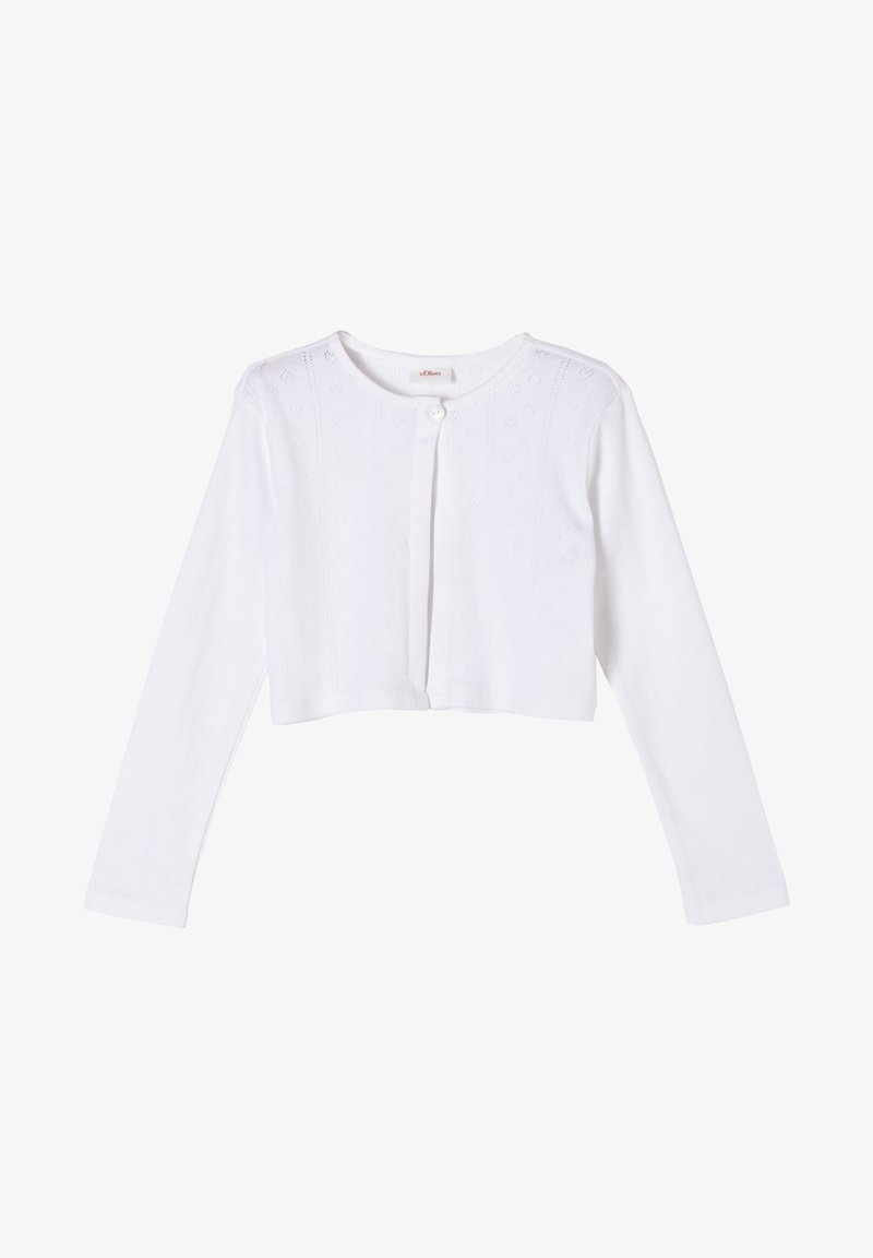 s.Oliver - MET GESTRUCTUREERD HARTJESMOTIEF - Cardigan - white