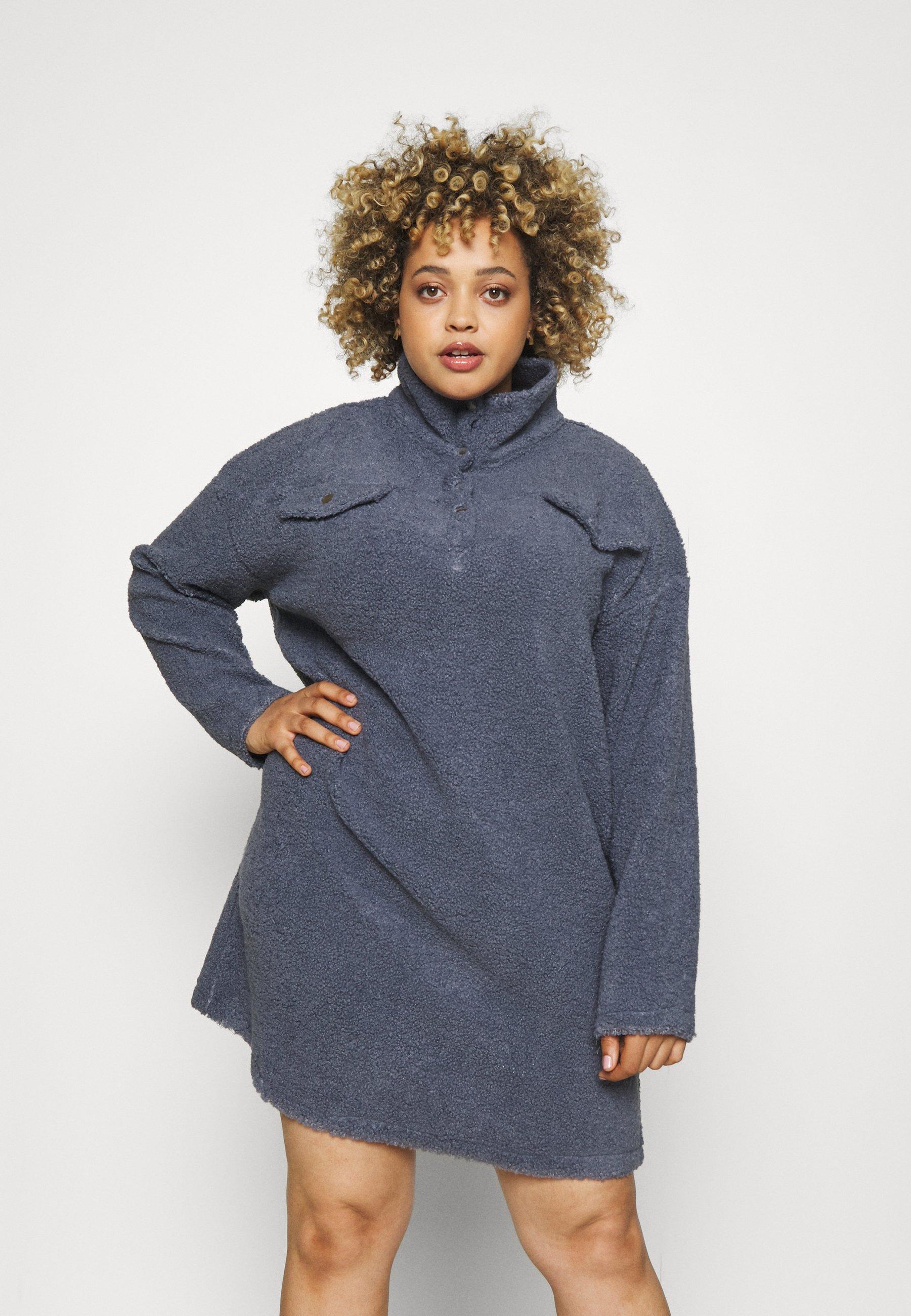 Women UTILITY BUTTON DRESS BORG - Jumper dress