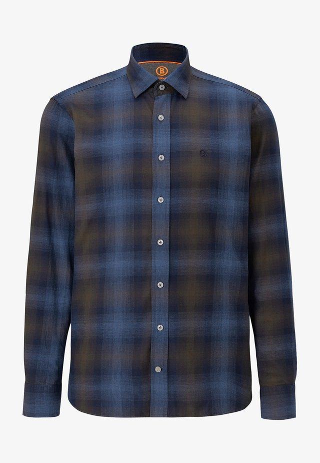 Shirt - dunkelbraun/blau