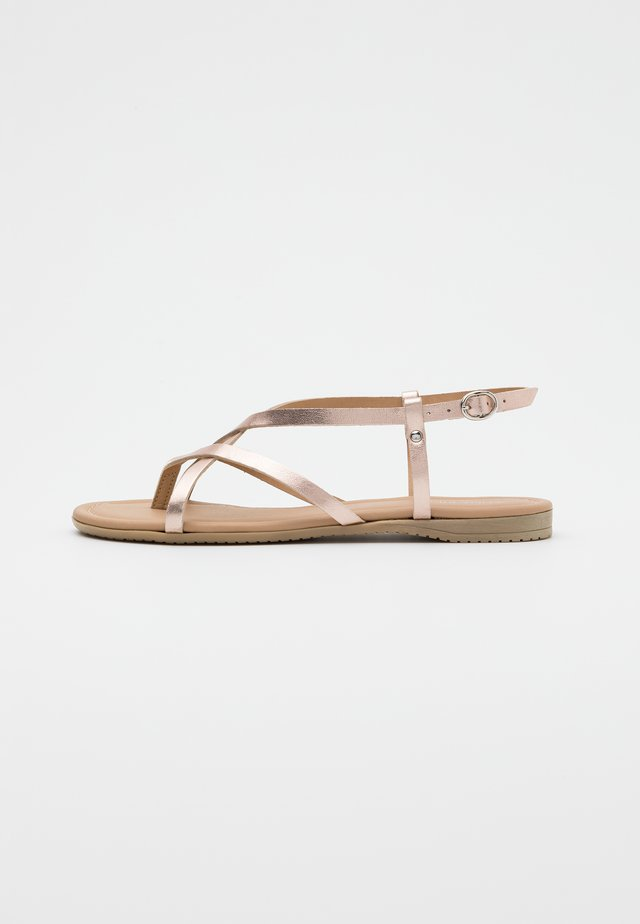 LEATHER  - T-bar sandals - rose gold