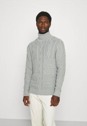 PATCHWORK ROLL NECK - Jersey de punto - grey melange
