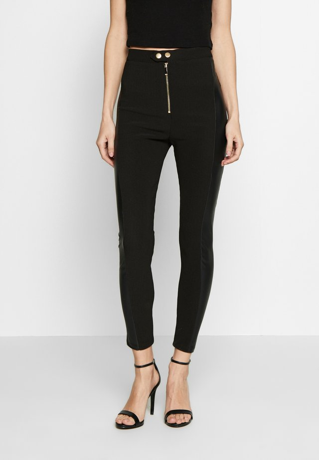 UTILITY ZIP FRONT MIX - Leggings - black