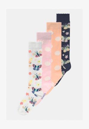 BUTTERFLIES DOTS 4 PACK - Knee high socks - blue/off-white