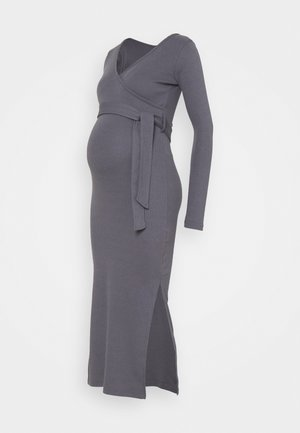 WRAP BELTED SIDE SPLIT MIDI DRESS - Jerseyjurk - grey