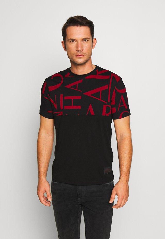 T-shirt print - black/syrah