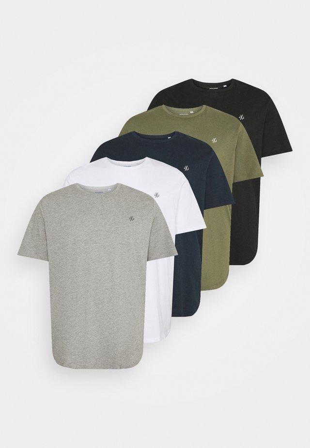 JORJXJ TEE CREW NECK 5 PACK - T-shirt basic - white