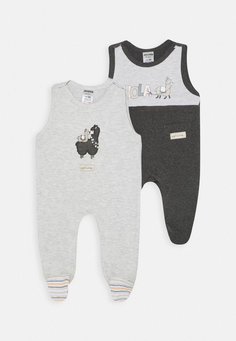 Jacky Baby - STRAMPLER HOLA LAMA 2 PACK - Jumpsuit - anthrazit/hellgrau